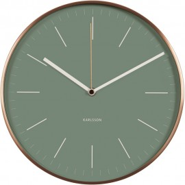 Minimal Jungle Green Copper Case Wall Clock 27.5cm