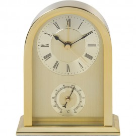 Arched Mantel Clock Gold Aluminium Case 11cm