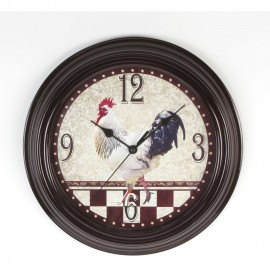 Round Wall Clock Black Case & Rooster Dial 30cm