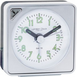 Silver Mini Travel Alarm Clock 6cm