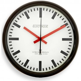 Swiss Station Black Wall Clock 30cm