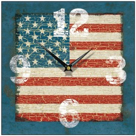 Vintage Blue Usa Flag Wall Clock 28.5cm