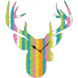 Large Striped Pattern Stag Head Wall Clock 70cm