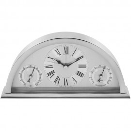 Silver Aluminium Crescent Shaped Mantel Clock 20cm