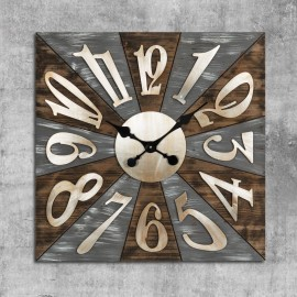 Square Wooden Wall Clock Metal Numbers 70cm