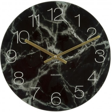 Black Glass Marble Wall Clock 40cm