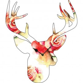 Large Flower Pattern Stag Head Wall Clock 70cm