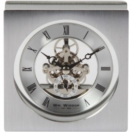 Sqaure Skeleton Brushed Aluminium Mantel Clock 11.3cm