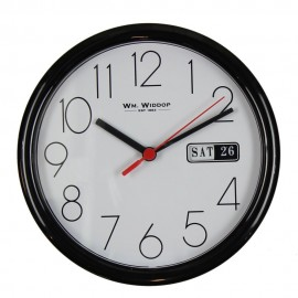 Day/Date Wall Clk-Black Case White Dial 21.5cm