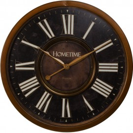 Metal Case Wall Clock Black & Bronze Finish 60cm