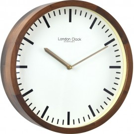 Walnut Finish Wooden Case Wall Clock 32cm