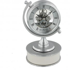 Piano Finish Mantel Clock Compass Skeleton Dial 11cm