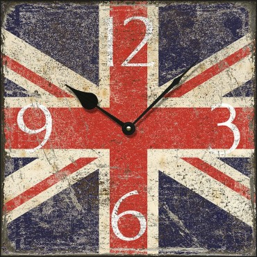 Shabby Chic Square Union Jack Wall Clock 36cm