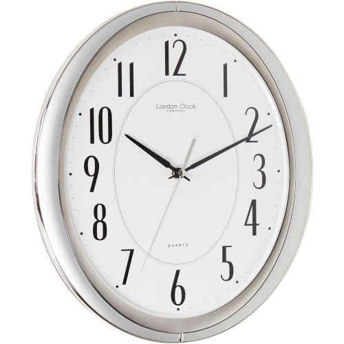 Silver Sweeping Oval Wall Clock 32 5cm