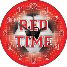 Red Time Football Wall Clock 28.5cm