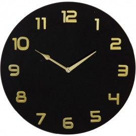 Glass Wall Clock Arabic Dial - Black 35cm