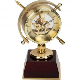 Compass Style Skeleton Movement Mantel Clock 13cm