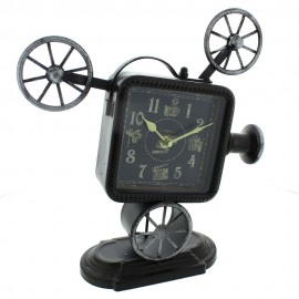 Metal Mantel Clock - Black Film Projector Arabic 29cm