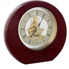 Piano Wood Round Mantel Clock Skeleton Dial Roman 20.5cm