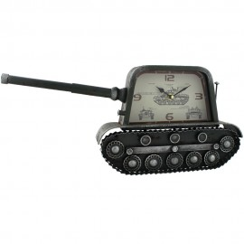 Metal Mantel Clock - Military Tank 48cm