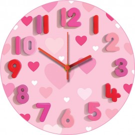 Pink Hearts Wall Clock 30.5cm
