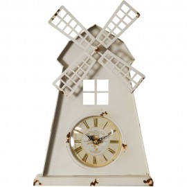Metal Case Mantel Clock - Windmill 23cm