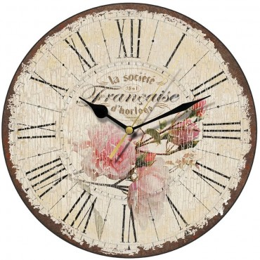 French Rose Shabby Chic Wall Clock 28.5cm