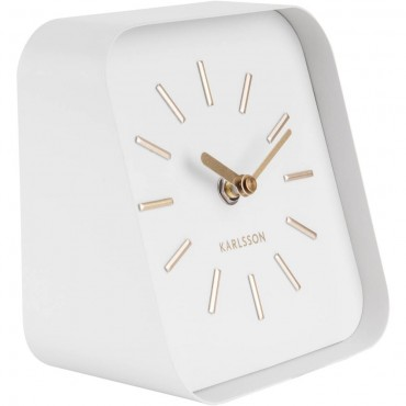 Squared White Table Clock 15cm